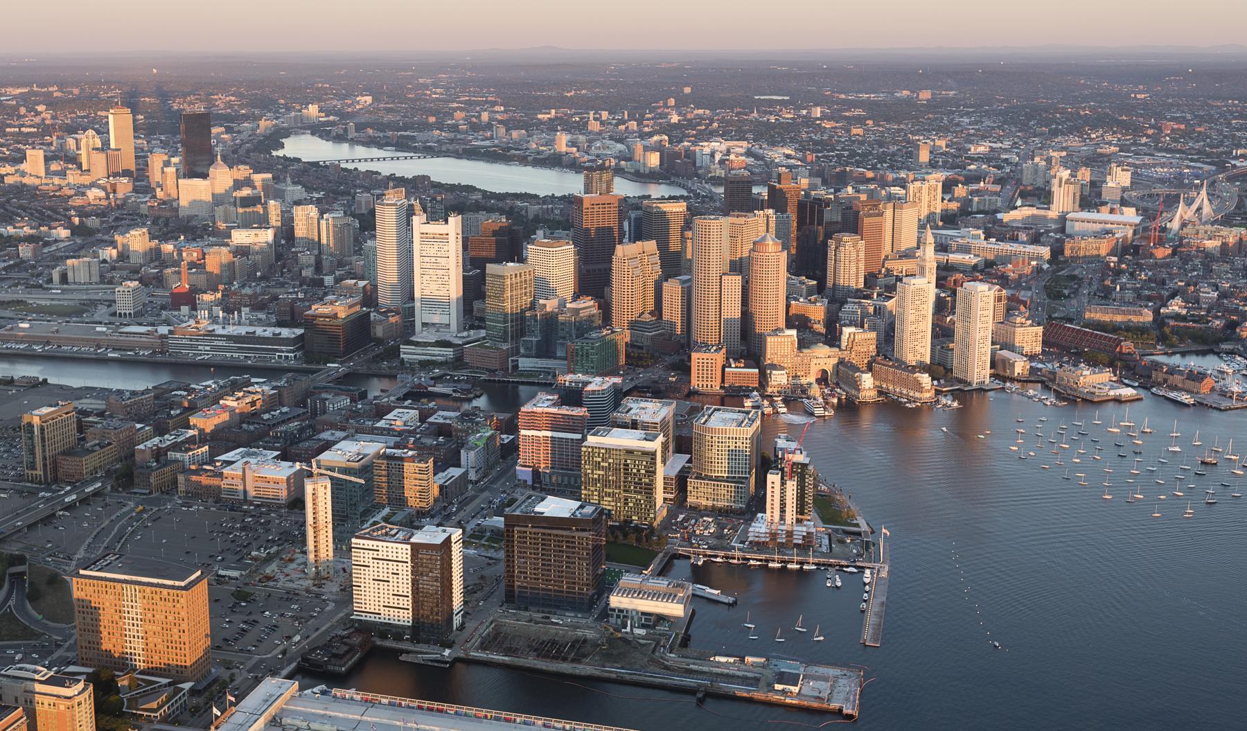 Boston Seaport aerial view sunrise