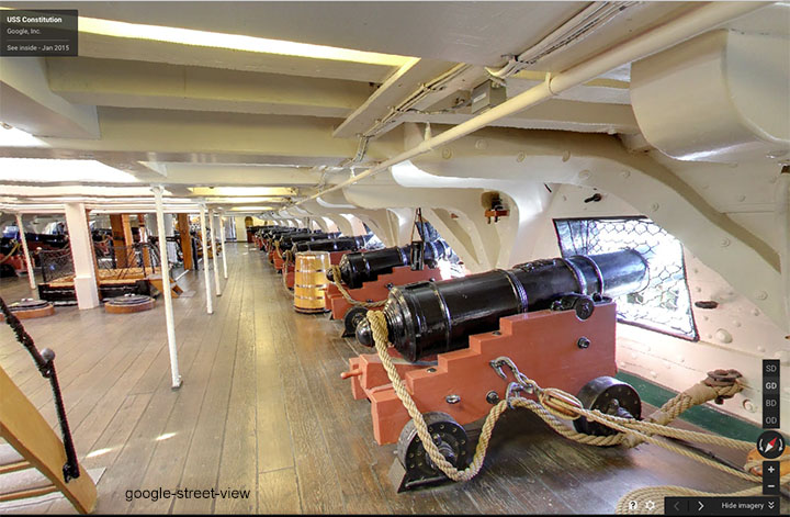 Gun Deck, USS Constitution, by Google-Street View