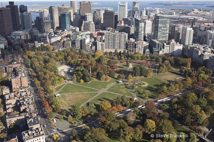 Boston Common aerial view, Boston, MA